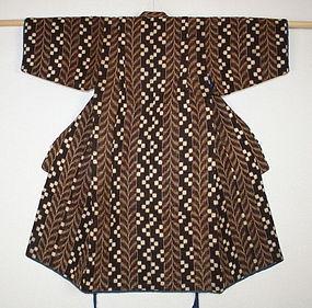 Japanese antique katazome cotton child kimono pattern of kasuri & leaf