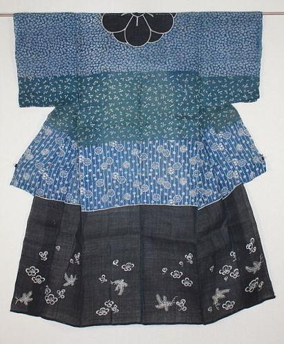 Edo Hemp Indigo Katsugi Katazome Very rare.