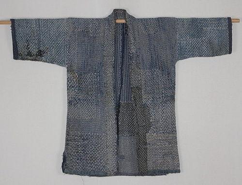 Meiji. Sashiko. Omi. Cotton Indigo Noragi Boro Rare.