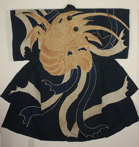 Edo Tsutsugaki Indigo Cotton Big lobster Noshi Gorgeous.