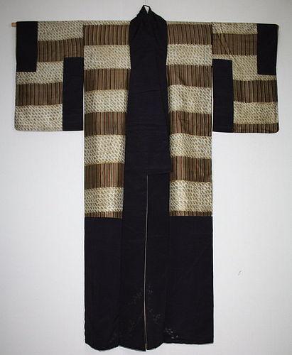 Japanese antique silk shibori Tie-dye & katazome kimono Meiji era