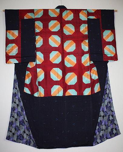 Japanese antique silk itajime-dye & katazome dye nakagi kimono meiji