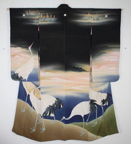 Japanese antique amazing silk furisode Hand drawn dyed kimono