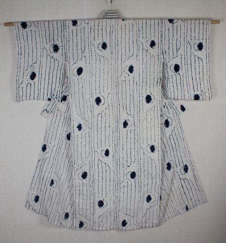 Japanese antique indigo dyeing cotton shirakage shibori kimono