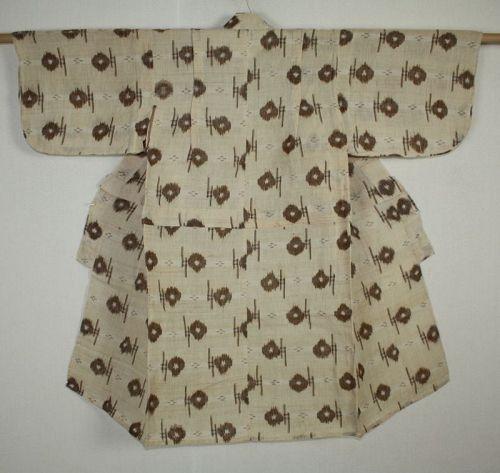Japanese antique Hemp kasuri  child kimono