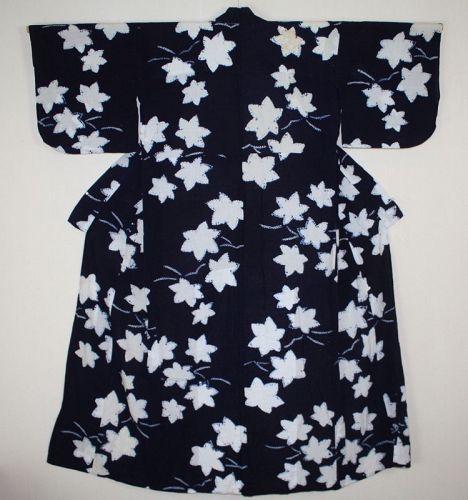 Japanese antique indigo dye cotton shibori kimono of asamai of taisyo