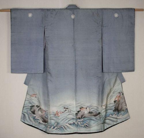 Japanese antique edo tsutsugaki Hand drawn yuzen dye silk child kimono