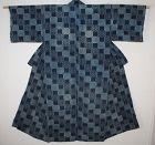 Japanese antique handspun & natural indigo dye cotton katazome kimono