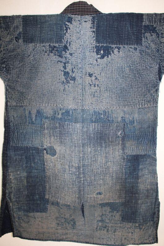 Japanese antique Thick indigo dye cotton Boro noragi of sashiko stitch