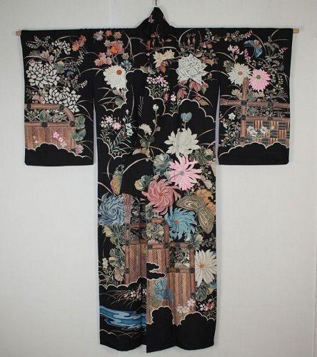 Japanese rare edo yuzen dye Hand-painted & Hand embroidery kimono