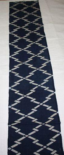 Japanese antique old fabric of thick handspun indigo dye katazome