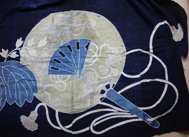 Japanese Antique big tsutsugaki textile Big yogi Indigo Cotton Edo