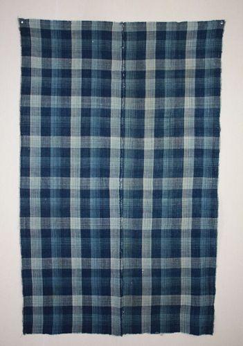 Japanese antique  handspun natural indigo dye cotton check pattern