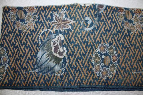 Japanese antique Edo Period indigo dye brown cotton katazom fabric