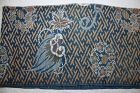Japanese antique Edo Period indigo dye brown cotton katazom fabric