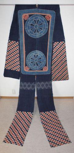 Japanese antique indigo dye and Bengala dye hemp-Umakake  tsutsugaki