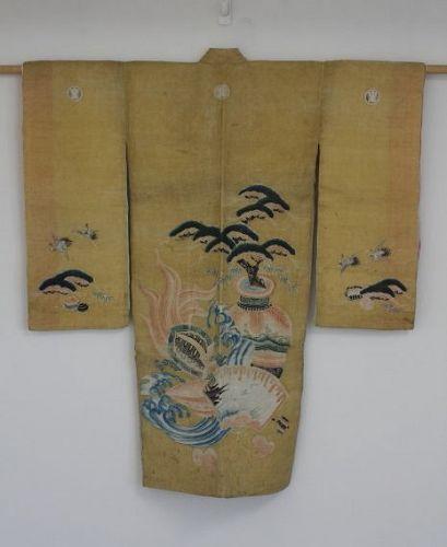 Japanese antique Hemp child kimono of Hand-painted Yuzen-dyed Edo