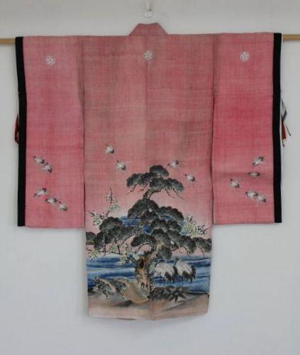 Japanese antique child kimono Yuzen-dyed natural safflower hemp edo
