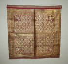Antique old Indian gold thread silk fabric: lion and flower pattern