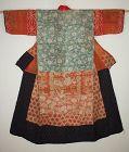 Japanese Edo era silk yosegire kimono of patchwork beni-itajime