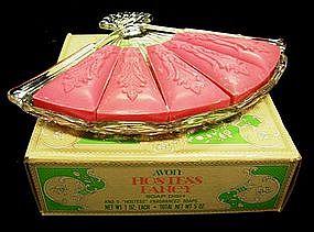 Avon Hostess Fancy Fan-Shaped Soap Dish and Soaps