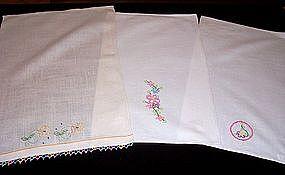 Set of 3 Tea Towels with Tatting Applique