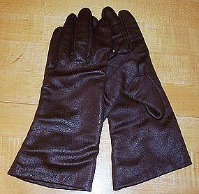 Brown Alligator-Look Lined Ladies Driving Gloves