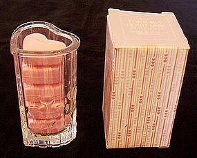 Avon Fostoria Glass Heart Vase w/ Guest Soap 1985