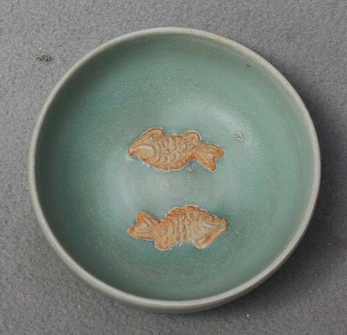 Chinese Longquan Celadon Twin Fish Small Bowl, 14th-15th Cenutry