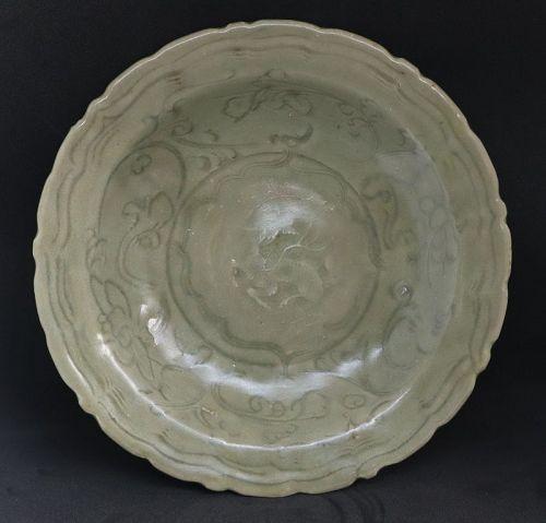 Chinese Ming Dynasty Celadon Dish With Kilin Motive