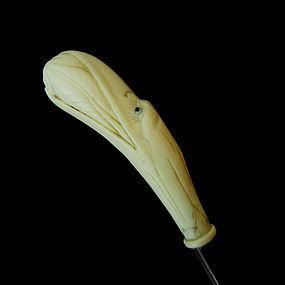 Ivory Pelican Walking Stick, c. 1920