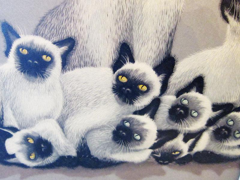 FOUSSA ITAYA CATS/JAPANESE-FRENCH  PRINT S&D 1959