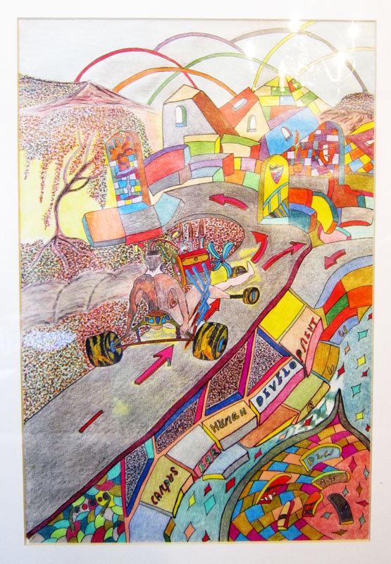 Bobby Williford Drawing, Man on Wheels