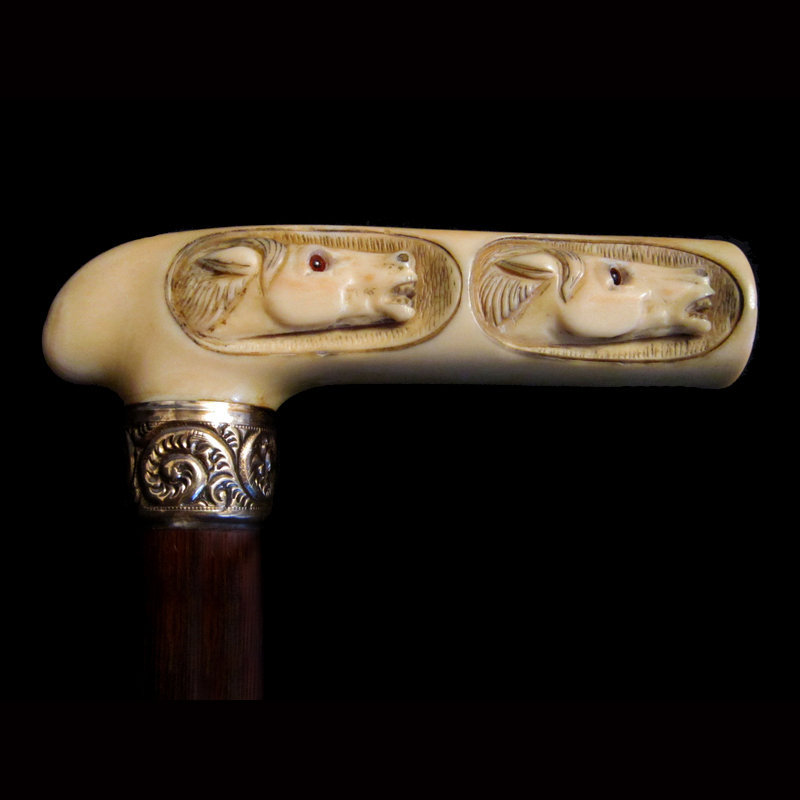 Two Ivory Horses Walking Stick