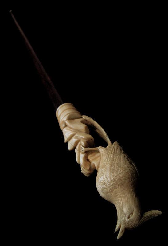 Carved Ivory Bird Walking Stick