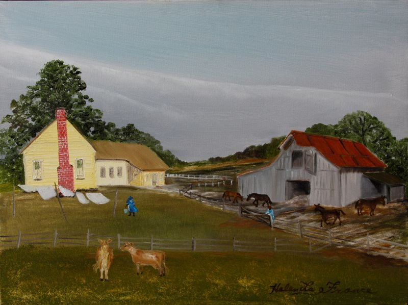 Farm with the Yellow House by Helen LaFrance