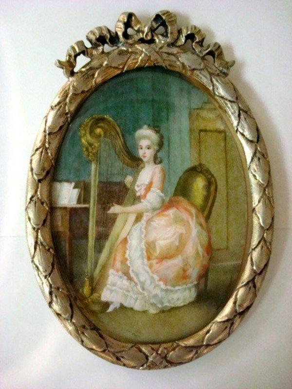 Antiques Miniature Watercolor Painting On Ivory, Portrait/Comtesse