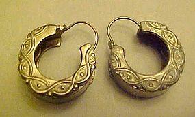 Sterling silver  pierced hoop style earrings
