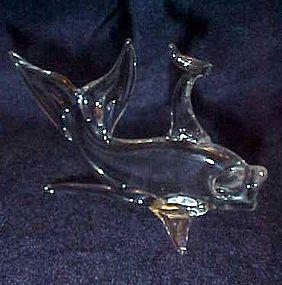 Hand blown clear glass beta fish coy goldfish figurine