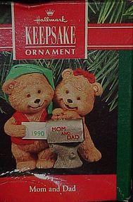 Hallmark ornament Mom and Dad bears 1990  Boxed