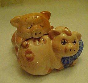Dirty  sleepy little pigs salt and pepper shakers