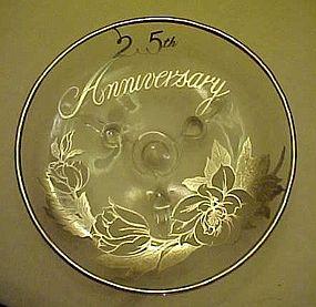 Viking Silver overlay three toed dish 25th Anniversary