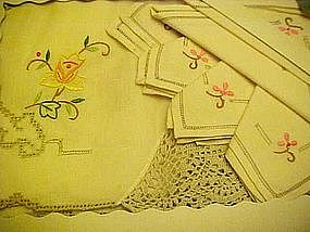 Vintage embroidery and lace tablecloth set orig box