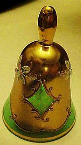 Bohemia Crystalex green & gold ornate bell Czech Rep.