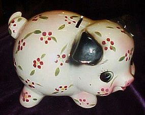 Old hand painted ceramic  piggy bank VERY CUTE!!