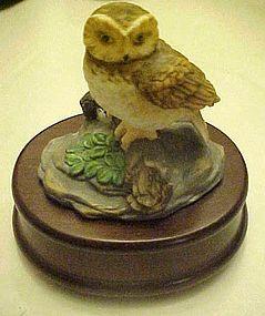 Musical porcelain owl figurine