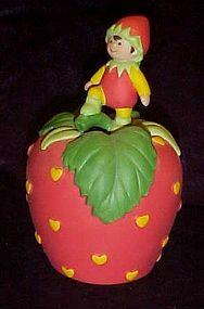 Avon porcelain strawberry bell with little elf 1993
