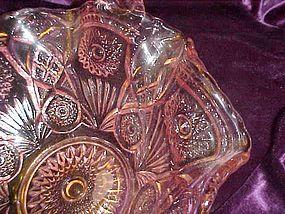 Beautiful large pink pressed pattern  glass basket