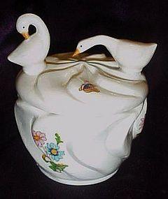 Bone china dresser jar, geese, butterflies, and flowers