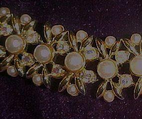Chic  Kramer faux pearls and aurora rhinestone necklace